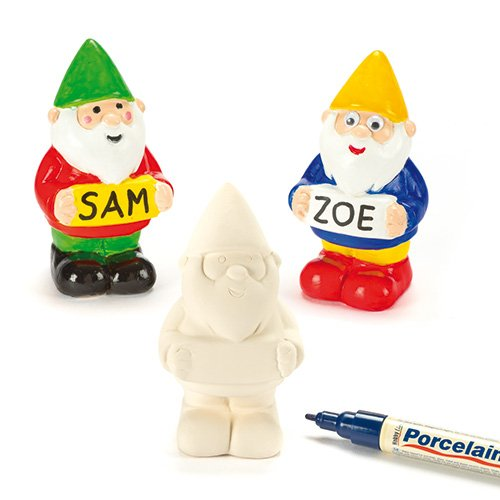 Baker Ross AF428 Customisable Ceramic Garden Gnomes— Creative Art and Craft Supplies for Kids to Make, Personalise and Decorate (Pack of 4)