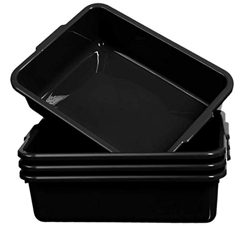 Commercial Bus Tub/Box, 13L Plastic Bus Utility Tote Storage Container Wash Basin Tote with Handles, Black, 4-Pack