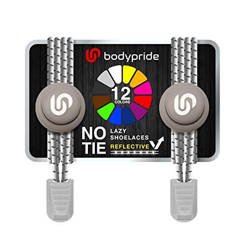 bodypride Premium Lazy Laces [ 12 Farben ] Elastische Schnellverschluss - Schnürsenkel ohne Binden | Schnellschnürsystem mit Reflektoren für Sport, Marathon, Triathlon, Kinder, Senioren | Grau