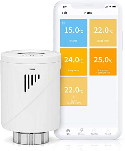 Smart Heizkörperthermostat, meross WLAN Thermostat, Intelligente Heizungssteuerung Kompatibel mit Alexa und Google, Fenstererkennungsfunktion, M30*1,5mm, 6 Adapter, 1pcs
