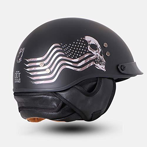PURROMM Casco de Moto Harley - FRP Casco anticolisión Visera Solar incorporada Forro Desmontable Dot,chesssoulmatteblack,L