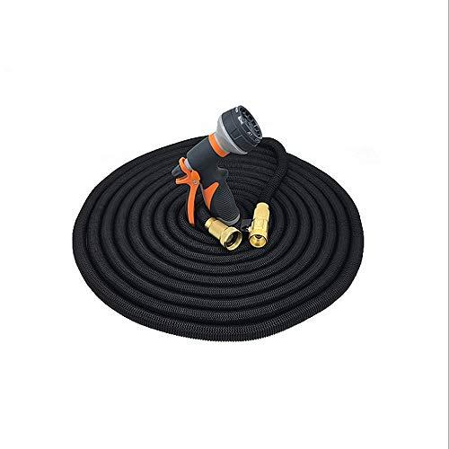 Ampliable manguera de jardín Color naranja Manguera negra Manguera de jardín que se expande Lavado del automóvil Rociador Boquilla Césped Manguera de riego Manguera de agua flexible con accesorios Boq