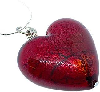 Joyería de cristal de Murano, colgante de corazón de cristal de Murano, grande y grueso, 3 cm x 3 cm, incluye caja de regalo y certificado