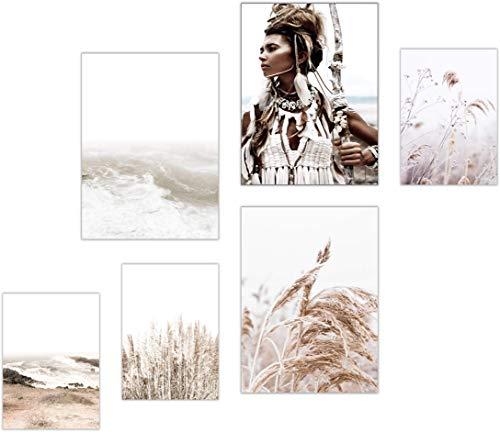 ELAFI® Premium Poster 6er Set | Stilvolle Dekoration mit passendem Bilder Set als Wohnzimmer Deko | 3x DIN A3 & 3x DIN A4 ohne Bilderrahmen | Kunstdruck Blätter (Warrior Flower)