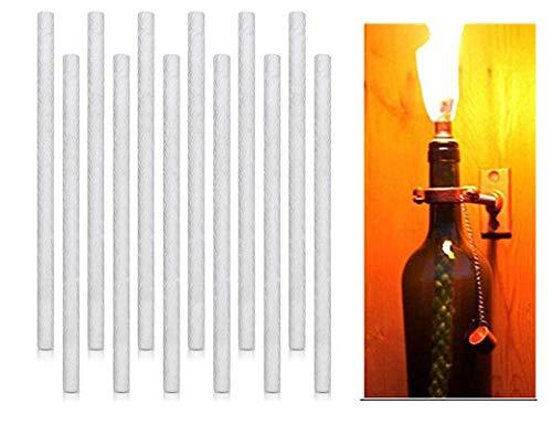 SSPECOTNR 12 Stück Dochte Kerzendochte Ersatz Glasfaser Lampendocht Hitzebeständiger Dauerdocht 25cm Lang Ersatzdochte für Kerze Öllampe Gartenfackel Fackel Keramik Halter Weinflasche Kerzenlampe