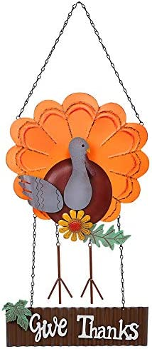 FORUP Vintage Metal Thanksgiving Turkey Welcome Sign Autumn Harvest Give Thanks Front Door Wall product image