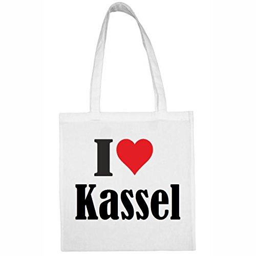 Tasche I Love Kassel Größe 38x42 Farbe Weiss Druck Schwarz