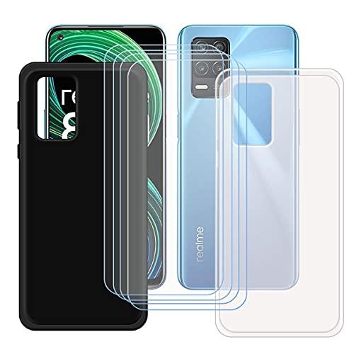 szjckj 2 x Funda para OPPO Realme 8 5G (6,5')+ 4 x Protector de Pantalla, Case Cover Carcasa Bumper Negro + Translúcido Clear TPU Silicone Cristal Vidrio Templado.