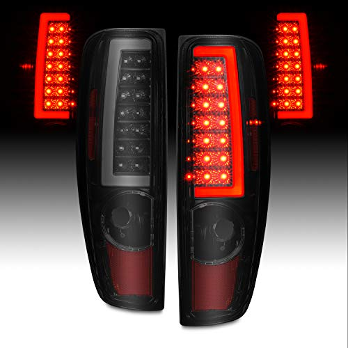 AmeriLite for 2004-2012 Chevy Colorado GMC Canyon Smoke Black C-Type LED Tube Tail Lights Pair - Passenger and Driver Side