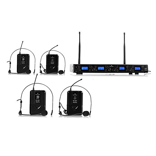 Malone UHF-550 Quartett 2 New Line 4-Kanal UHF-Funkmikrofon Set Funk-Mikrofon System Headset 4 x kabelloses Mikrofon (Frequenzband: 823-832 MHz, lange Betriebszeiten, Transportkoffer) schwarz
