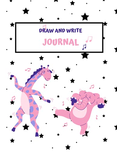Draw and Write Journal: Early Creative Story Book for Girls | Dotted Midline and Picture Space | Grades K-2 Composition School Exercise Book |with elephant and giraffe drawinga