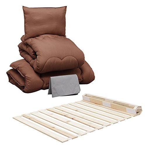 布団セット 洗える ほこりの出にくい 4点 シングル ブラウン + 檜 すのこベッド ロール式 シングル 通気性 天然木