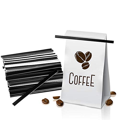 Tin Ties, Coffee Bags Ties, 5.5 Inch Peel and Stick Bread Bags Ties with 3.3 Inch Self Adhesive Strip for Coffee Bags, Bread Bags, Snack Bags, Black, 100 Pieces