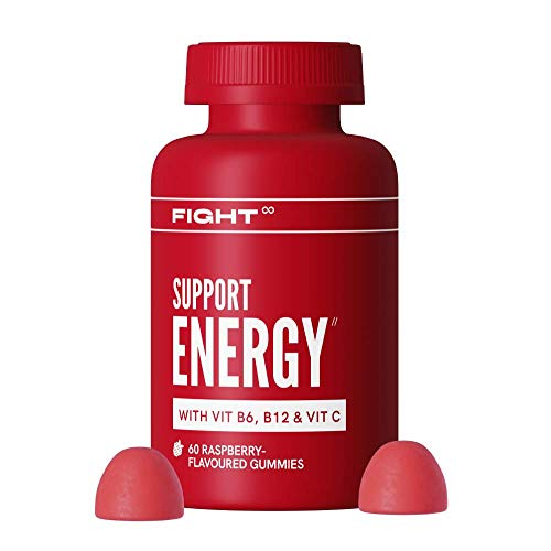 Vitamin B12 Energy Raspberry-Flavoured Gummy Multivitamins - Vitamins B12, B6, E, Folic Acid, Zinc + More - Vegan and Gluten Free