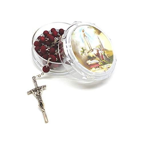 DELL'ARTE Artículos Religiosos portarosario y rosario de madera perfumada con rosas – Virgen de Fátima