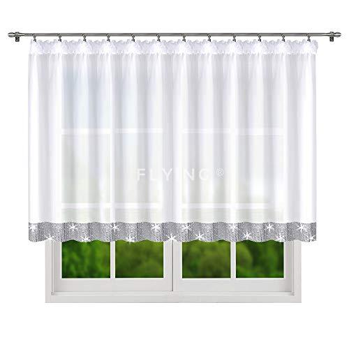 FKL TOP Fertig-Gardine aus Voile NEU Top Design Set Schöne Wohnzimmer Küche-Gardine mit Kräuselband und Zirkonia 120 x 400 cm LB-250
