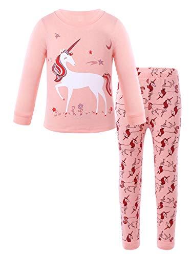 iEFiEL Baby Mädchen Schlafanzug Baumwolle Süß Einhörner Langarm Zweiteiliger Schlafanzüge Set Kinder Nachtwäsche Frühling Pyjama Größe 9M-14 Jahre Korallenrosa 80-92