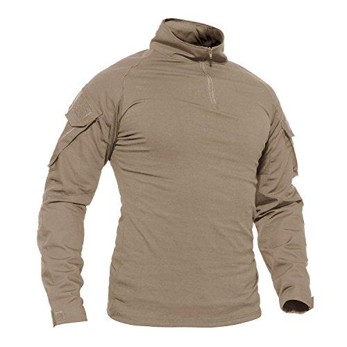 Tacvasen T-shirt à manches longues avec poches pour homme Motif camouflage,Kaki - Manche Longue ,XL (Taille Fabricant:XXXL)