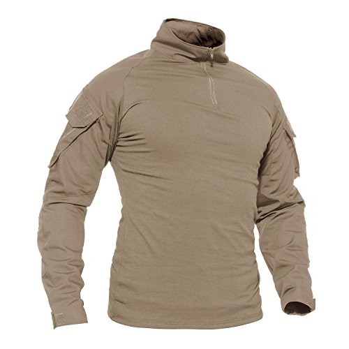 Casual Shirt Herren Langarm Baumwoll Shirt Outdoor Cotton T Shirts Men Ski Poloshirt Winter Travel Shirt Freizeit Herbst Hemd mit Taschen Khaki L