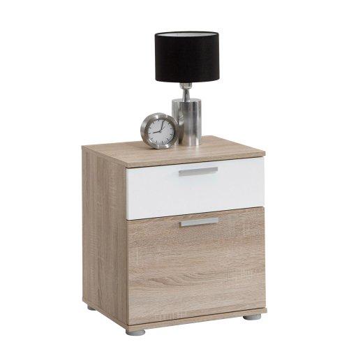 FMD furniture Nachttisch, Spanplatte, Eiche NB/Weiß, ca. 45x53x38 cm