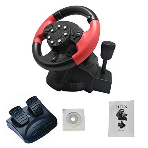 PROKTH | Volant de Course - Simulateur de Conduite - Volant de Jeu + pédales + Levier de Vitesse - pour PC, PS2 et PS3