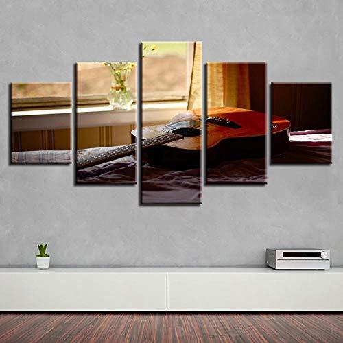 Preisvergleich Produktbild WWMJBH Leinwanddrucke 5 Panels Gemälde Artwork 200X100Cm - Wandkunst Poster Moderne Hauptdekoration 5 Stück Mikrofon Leinwand Malerei Modulare Musikinstrument Bild - Kunstwerk Bilder F
