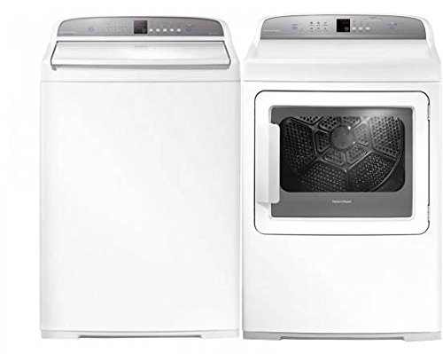 """Fisher Paykel Top Load Eco-Active WA3927G1 27"""" Washer with Front Load DG7027G1 27"""" Gas Dryer Laundry Pair in White"""