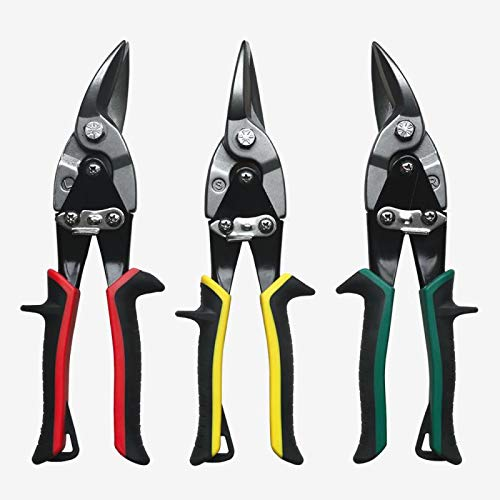 Metal Shears Aviation Snip Set 3 Pack Tin Snips Cutters - Left, Right and Straight Metal Cutting Shears - Snips for Sheet Metal -Cutting Pliers Snip