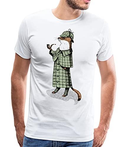 Tiere Humor Schlaues Wiesel Detektiv Männer Premium T-Shirt, L, Weiß