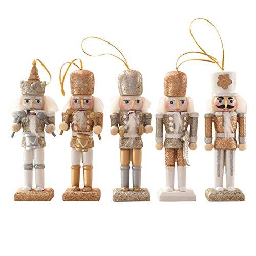 Phoetya Nussknacker-Soldat aus Holz, hängende Dekoration, 13 cm, ideal als Weihnachtsbaumschmuck, perfekte Puppenparty-Dekoration (Gold), 5 Stück