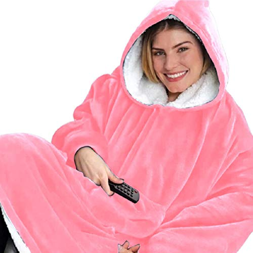 Tuopuda Hoodie Damen Herren Übergroße Decke Sweatshirt Pullover mit Kapuze Langarm Kapuzenpullover Langarmshirt Super Weiche Gemütliche Warme Riesen-Hoodie Pulli mit Kordel Taschen, Rosa One Size