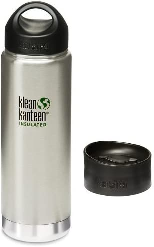 Klean Kanteen Wide Mouth Insulated Bottle with 2 Caps Stainless Loop Cap and Cafe Cap Brushed product image
