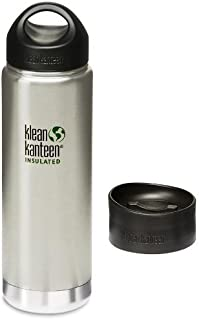 Klean Kanteen Wide Mouth Insulated Bottle with 2 Caps (Stainless Loop Cap and Cafe Cap) - Brushed Stainless 20 oz.