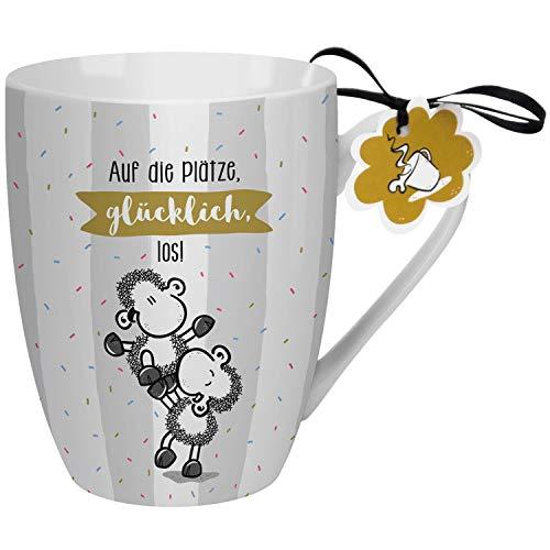 Sheepworld 59604 Lieblingstasse Auf die Plätze glücklich los, Kaffeetasse, Porzellan, 30 cl Tasse