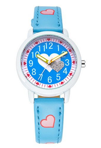 FEOYA - Reloj Infantil de Analógico Cuarzo para Niñas Chicas Dubujo de Corazón - Azul