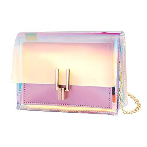 TENDYCOCO bolso de mano holograma bolso cruzado iridiscente bolsos de cadena transparente para mujer