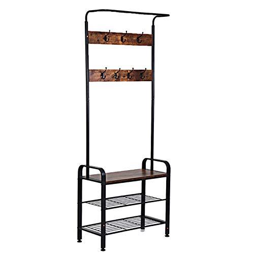 QFWM Perchero de pie con marco de metal para entrada en el hogar, estante de almacenamiento de abrigos, estante de pie