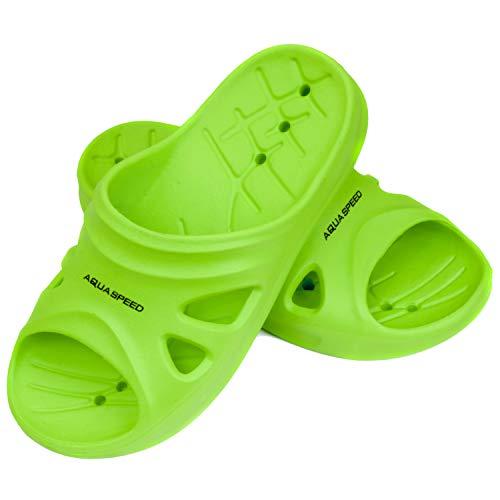Aqua Speed grüne Badelatschen Florida + Fasertuch | Kinder | Duschsandalen | Badeschlappen grün | Saunaschuhe | Saunasandalen Mädchen Jungs | Pools | Gr 32