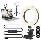 Ringlicht mit Stativ und Clip, LED Videokonferenz Licht Beleuchtungsset, Ringlicht Laptop, Dimmbare Ringlicht USB Video Licht Set für Fernarbeit, Nunterricht, Live Streaming