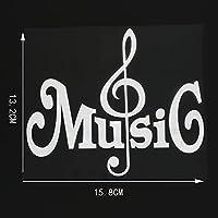 WZJH 15。8CMX13.2CMラブミュージックビニールデカールカーステッカー装飾モダンブラック/シルバー (Color Name : Silver)