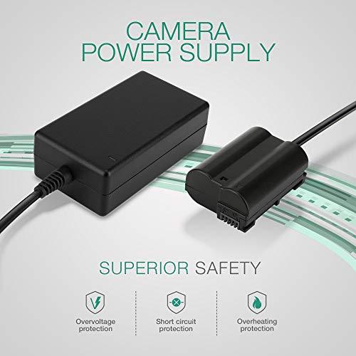 subtel® Fuente alimentación Compatible con Z 7 Z 6 D750 D7000 D7100 D7200 D7500 D850 D810 D810a D800 D800e D610 D600 D5001 V1 DL24-500 DL24-85 DL18-50 Eh-5 EH-5B EP-5B Cable Corriente