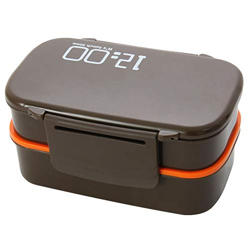 Dkeyinx - Contenitore per il pranzo portatile a doppio strato, grande capacità, può essere utilizzato in forno a microonde, lavastoviglie, frigorifero, marrone