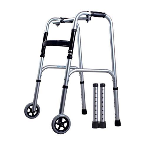 FGSJEJ Aluminiumlegierung Walker, Krücken for Behinderte, Rollator for ältere Menschen, höhenverstellbar, leicht und stabil, rutschfeste Fußunterlagen (Color : Silver2)
