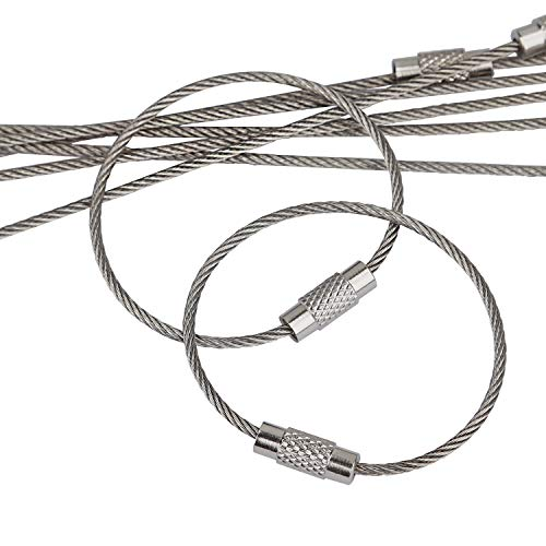 Pawfly 20 pcs Wire Keychain Cable 4 Inch Stainless Steel Key Ring Loop for Outdoor Hiking