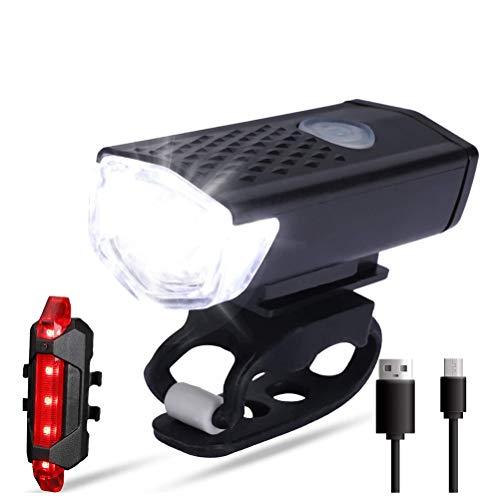 shenruifa Fahrradlicht Fahrradleuchten, LED Fahrradscheinwerfer Frontlicht Rücklicht USB Wiederaufladbares wasserdichtes Fahrradlicht Rücklichtset