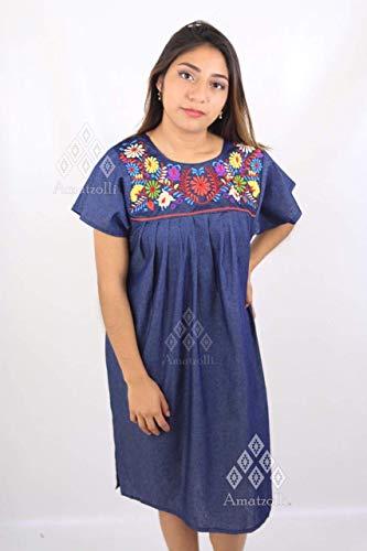 Vestido Mexicano Corto de Mezclilla Con Mangas Bordado Típico de Margaritas