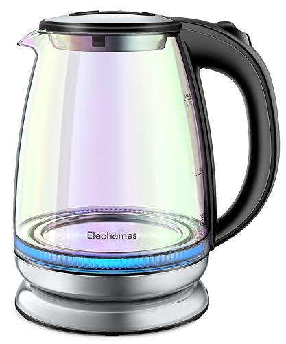 Elechomes Electric Kettle Glass Tea Kettle 1.8 Liter, Blue LED Light, Auto Shut-Off and Boil-Dry Protection, BPA-Free Stainless Steel Inner Lid and Bottom