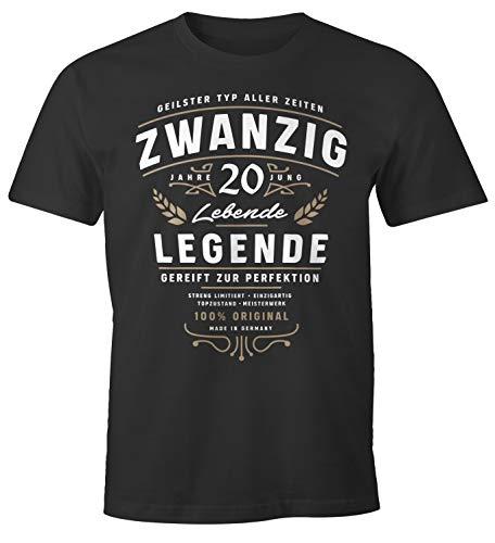 MoonWorks® Herren T-Shirt Geburtstag Geschenk für Männer Lebende Legende Alter Zwanzig anthrazit L