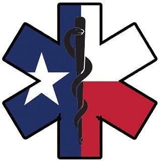 ION Graphics Texas State Shaped EMT Flag Sticker Die Cut Vinyl EMS Paramedic TX 5