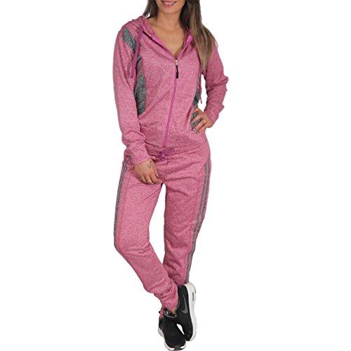 Candygirls Haus Jogging Anzug Sport Hose Jacke Kapuze Pfeffer und Salz Muster DP1607 (34 XS, Pink)